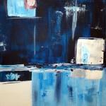 Abstrait bleu. Natacha Traber  Huile sur carton toilé
