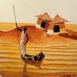 Sur l'eau, d'après Moga -  Huile sur toile - Natacha Traber