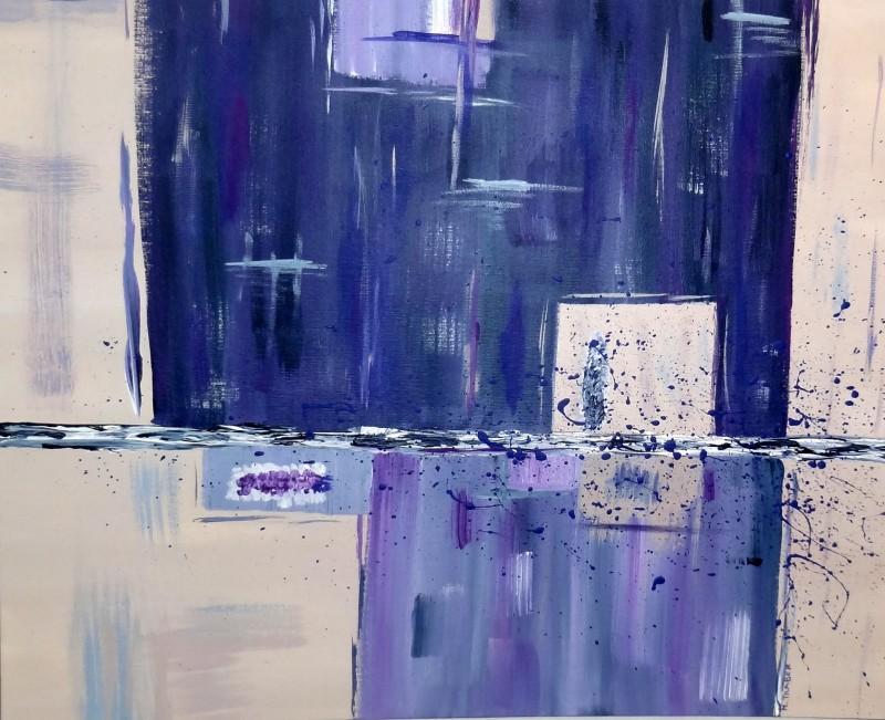 Abstrait violet. Natacha Traber  Huile sur carton toilé