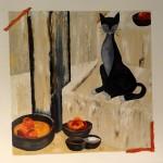 Le Chat, d'après Véronique Mansart. Natacha Traber. Huile sur toile