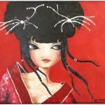 La jeune fille Japonaise. Huile sur toile. Natacha TRABER.