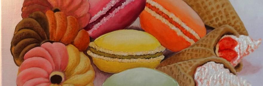 """""""Macarons"""". Acrylique sur toile. Cat Richard"""