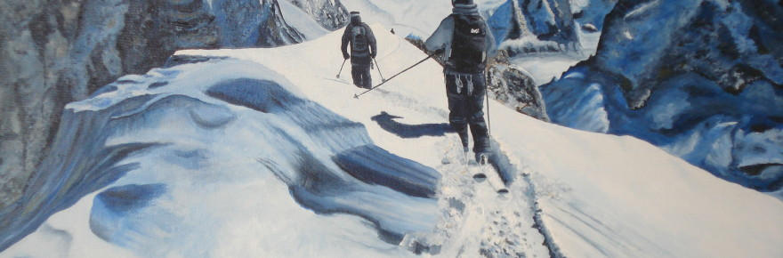 Course en Haute Montagne - Huile sur toile - Natacha TRABER