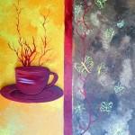 """""""tasse en relief"""" acrylique sur toile  41x33cm"""