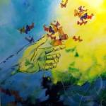 """""""Confiance"""". Acrylique.2ème prix coup de coeur du public 2014"""
