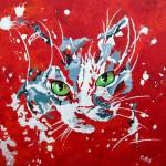 """""""Chat rouge"""" . Acrylique sur toile 30x30. Cathy Fauré"""