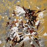 """""""Chat doré-argent"""" . Acrylique sur toile 30x30. Cathy Fauré"""