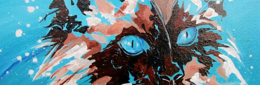 """""""Chat bleu"""" . Acrylique sur toile 40x40. Cathy Fauré"""