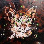 """""""Chat maron yeux verts"""" . Acrylique sur toile 40x40. Cathy Fauré"""