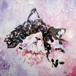 """""""Chat rose"""" . Acrylique sur toile 40x40. Cathy Fauré"""