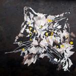 """""""Chat noir yeux jaunes"""" . Acrylique sur toile 50x50. Cathy Fauré"""