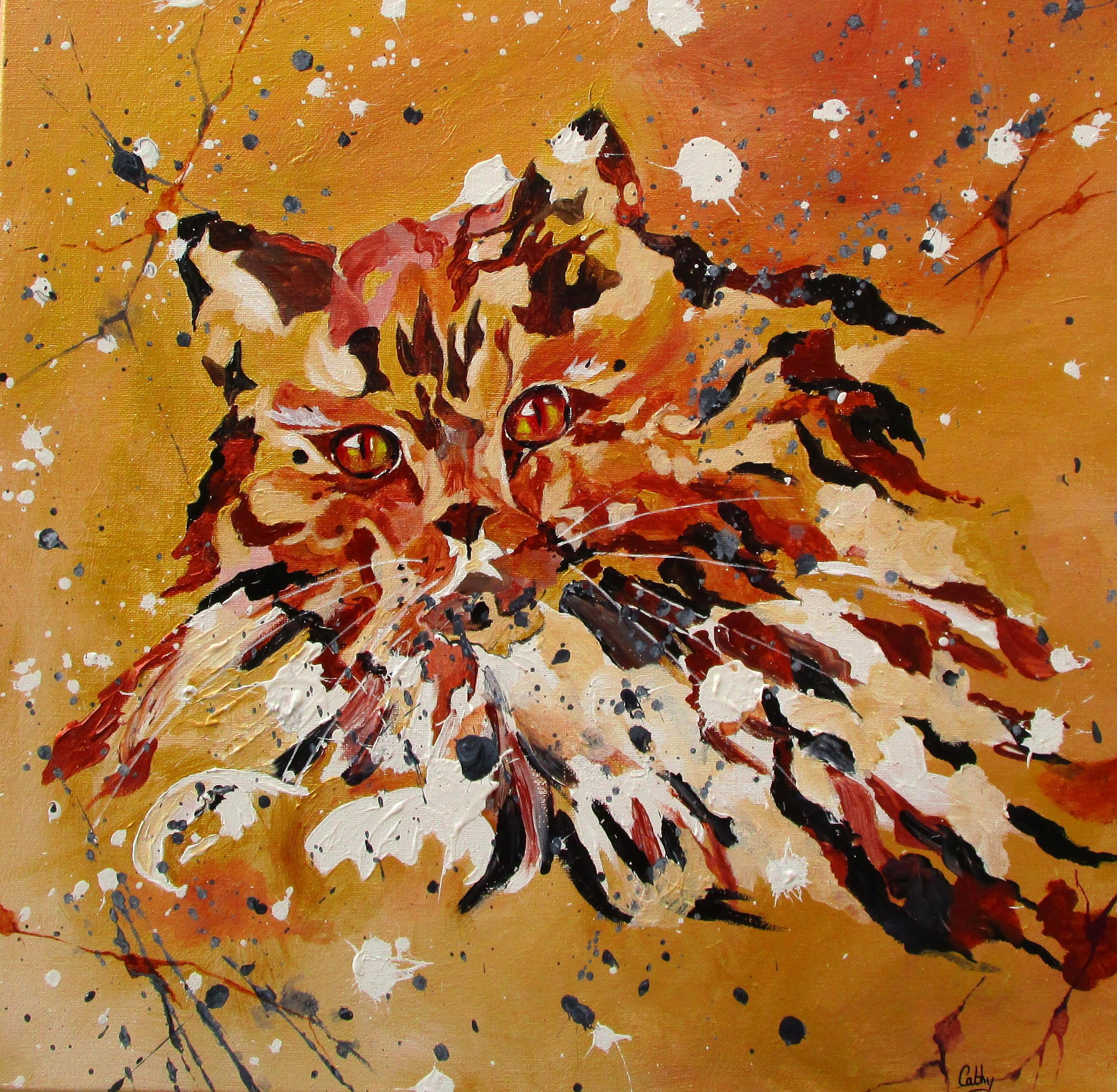 """""""Chat doré"""" . Acrylique sur toile 50x50. Cathy Fauré"""