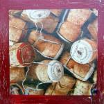 """""""Bouchons de champagne""""  Collage et peinture sur carton toilé. 20x20cm"""