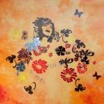 """""""Flower summer """"acrylique sur toile avec miroirs H70xl70"""