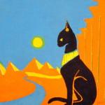 """""""Chat égyptien"""". Acrylique sur toile. Joce Falconnet"""