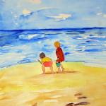 """""""Petits enfants à la plage"""". Joce Falconnet"""