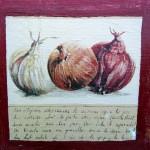 """""""Oignons""""  Collage et peinture sur carton toilé. 20x20cm"""