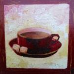 """""""Tasse de café""""  Collage et peinture sur carton toilé. 20x20cm"""