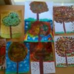 Consigne: peindre les arbres en prenant exemple sur ceux que l'on aperçoit depuis les fenêtres de la salle de peinture