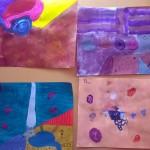 Consigne: inventer un tableau en faisant en y incorporant un morceau de papier.