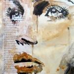 Visage féminin - Technique Mixte - Cathy Fauré