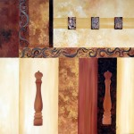 """""""Poivrières et épices en relief"""" acrylique sur toile avec mini toiles et poivrière collée H70xl70cm"""