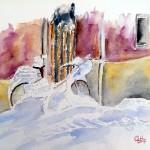 """""""Vélo en hiver"""" aquarelle 30 x 24cm"""