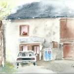 """""""Ancien café des platanes"""" Aquarelle H32  x L24cm"""