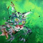 """""""Chat vert"""" . Acrylique sur toile 40x40. Cathy Fauré"""