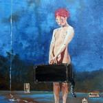 """""""Fille a la valise"""". ; Acrylique sur carton toilé 22X33cm"""
