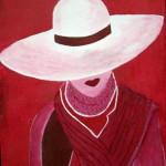 """""""Femme au chapeau"""". Acrylique sur toile. Joce Falconnet"""
