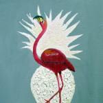 """""""Flamant Rose et Ananas"""". Acrylique sur toile. Joce Falconnet"""