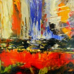 """""""New York Orange"""". Huile sur toile. Christine Guillot."""