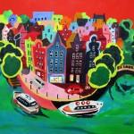 """Amsterdam"".  Acrylique 55x38. Cathy Fauré"